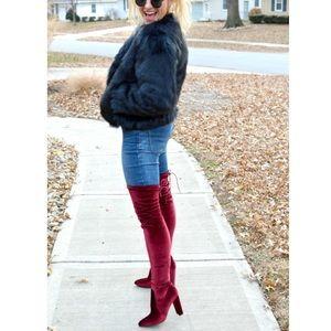 Over The Knee Velvet Velour Soft Tall Heeled Boots